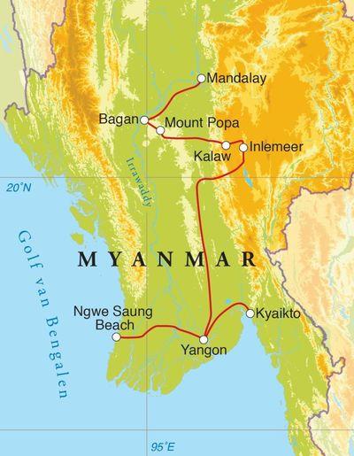 Routekaart Rondreis Myanmar, 21 dagen