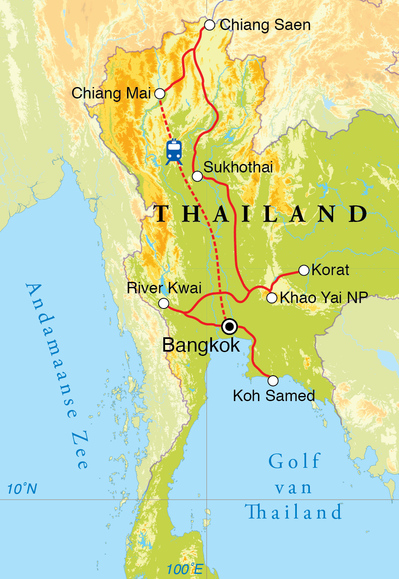 Routekaart Rondreis Thailand, 21 dagen