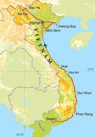 Routekaart Rondreis Vietnam, 22 dagen