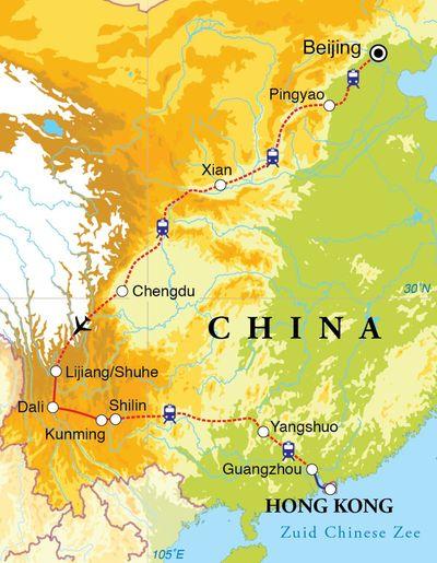 Routekaart Rondreis China, 24 dagen
