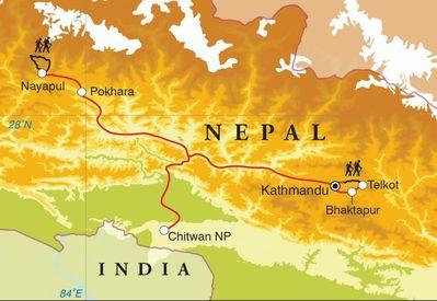 Routekaart Rondreis Nepal met trekking, 20 dagen