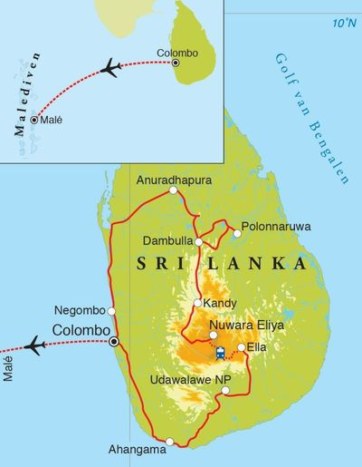 Routekaart Rondreis Sri Lanka & Malediven, 21 dagen