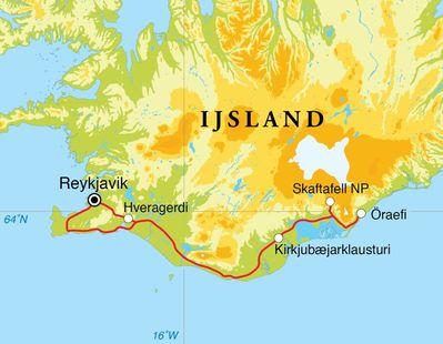 Routekaart Winterreis IJsland, 7 dagen