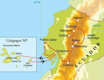 Routekaart Rondreis Ecuador, met verlenging Galapagos, 29 dagen