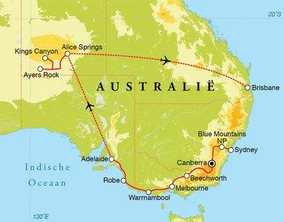 Routekaart Rondreis Australië, 21 dagen