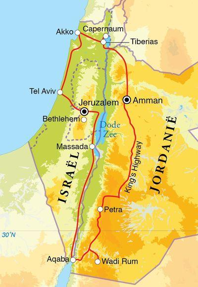 Routekaart Rondreis Israël en Jordanië, 15 dagen