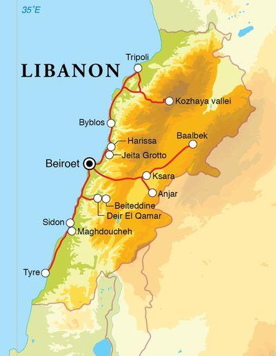 Routekaart Rondreis Libanon, 8 dagen