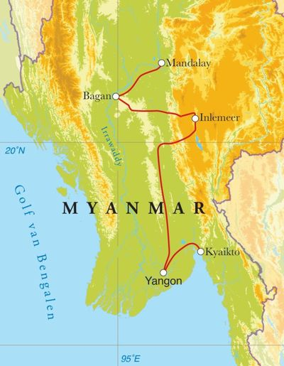 Routekaart Rondreis Myanmar, 15 dagen