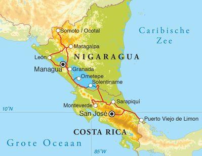 Routekaart Rondreis Costa Rica & Nicaragua, 19 dagen
