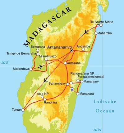 Routekaart Rondreis Madagascar, 28 dagen