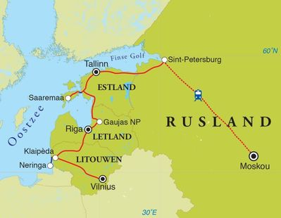 Routekaart Rondreis Litouwen, Letland, Estland & Rusland, 18 dagen