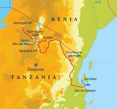 Routekaart Rondreis Tanzania & Zanzibar, 15 dagen lodge/kampeerreis
