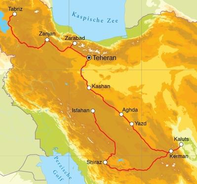 Routekaart Rondreis Iran, 21 dagen