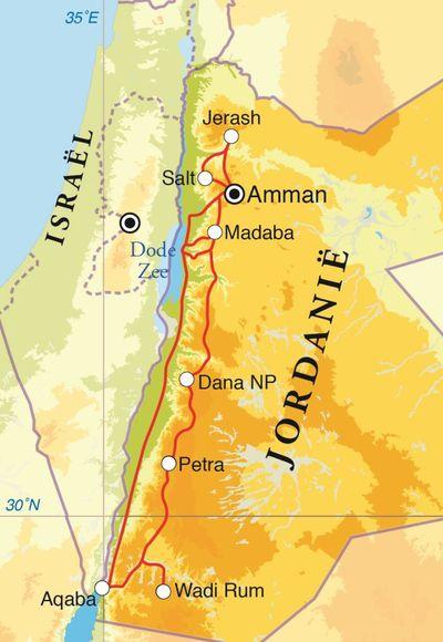 Routekaart Rondreis Jordanië, 12 dagen