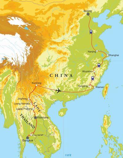 Routekaart Van Bangkok naar Beijing, 27 dagen