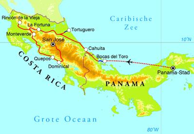 Routekaart Rondreis Costa Rica & Panama, 21 dagen