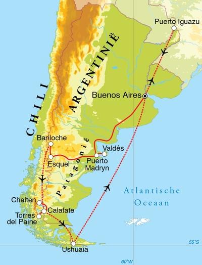 Routekaart Rondreis Argentinië, Chili & Iguaçu, 26 dagen