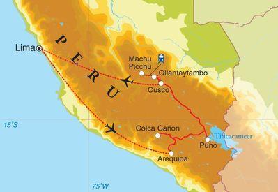Routekaart Rondreis Peru, 14 dagen