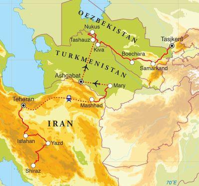 Routekaart Van Shiraz naar Tasjkent, 21 dagen