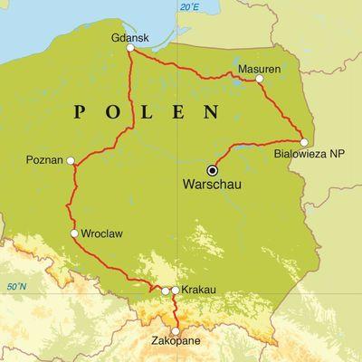 Routekaart Rondreis Polen, 14 dagen