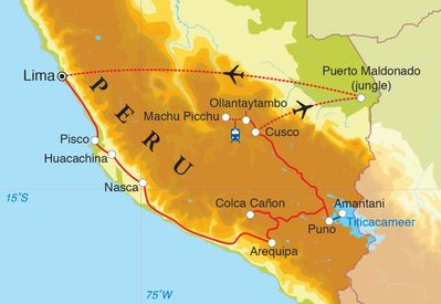 Routekaart Rondreis Peru met Amazone, 24 dagen