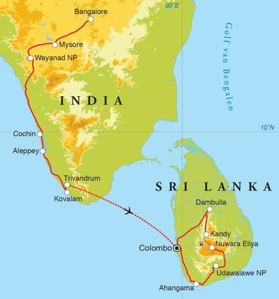 Routekaart Rondreis Zuid-India & Sri Lanka, 21 dagen