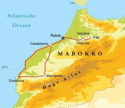 Routekaart Kookreis Marokko, 7 dagen