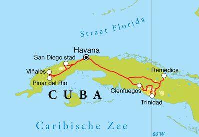 Routekaart Fotoreis Cuba, 14 dagen