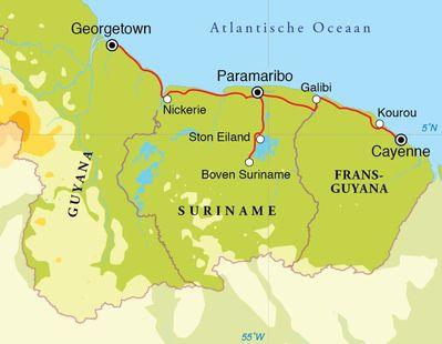 Routekaart Rondreis Suriname, Guyana & Frans Guyana, 21 dagen