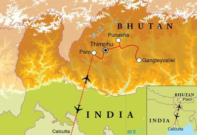 Routekaart Rondreis Bhutan, 13 dagen