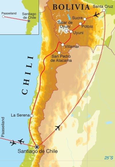 Routekaart Eclipsreis Bolivia, Chili & Paaseiland, 24 dagen