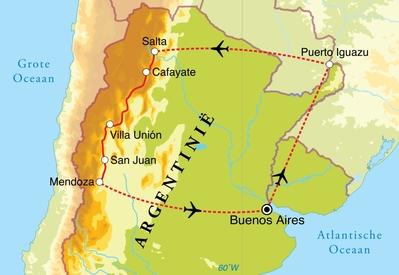 Routekaart Eclipsreis Argentinië, 18 dagen