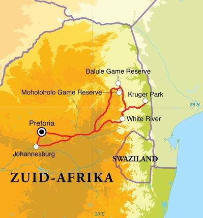 Routekaart Rangercursus in Zuid-Afrika, 12 dagen