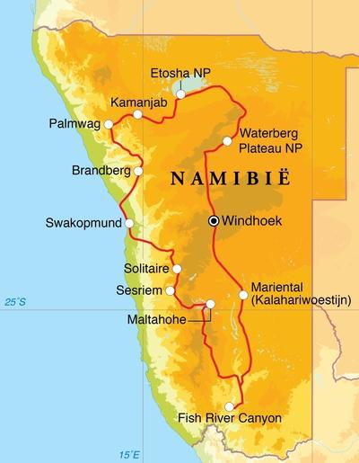 Routekaart Rondreis Namibië, 20 dagen lodge/hotelreis