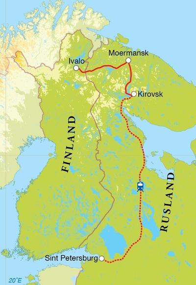 Routekaart Natuurreis Rusland & Finland, 10 dagen