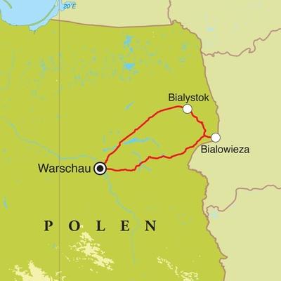 Routekaart Natuurreis Polen, 5 dagen