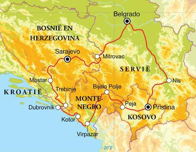 Routekaart Rondreis Servië, Bosnië en Herzegovina, Kroatië, Montenegro & Kosovo, 15 dagen