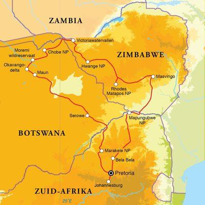 Routekaart Zuid-Afrika, Botswana & Zimbabwe, 20 dagen