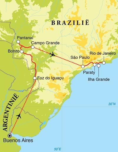 Routekaart Rondreis Argentinië & Brazilië, 21 dagen