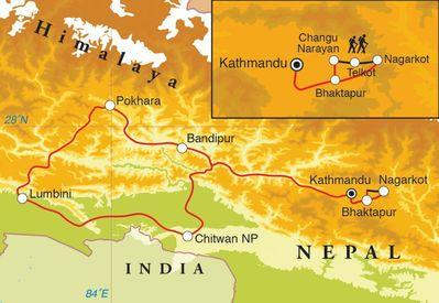 Routekaart Rondreis Nepal, 16 dagen