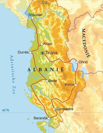 Routekaart Rondreis Albanië & Macedonië, 15 dagen