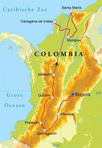 Routekaart Rondreis Colombia, 21 dagen