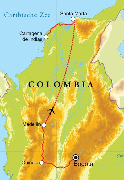 Routekaart Rondreis Colombia, 14 dagen