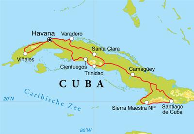 Routekaart Rondreis Cuba, 20 dagen