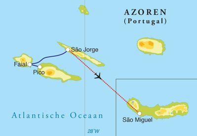 Routekaart Rondreis Azoren, 10 dagen