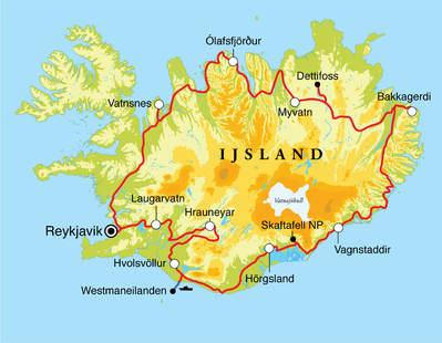 Routekaart Rondreis IJsland, 13 dagen