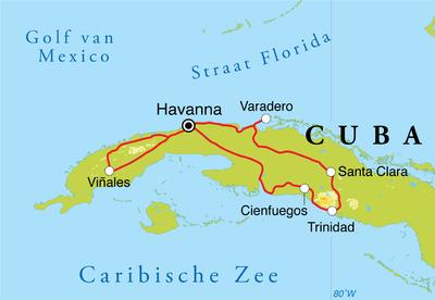 Routekaart Rondreis Cuba, 14 dagen