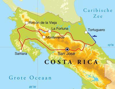 Routekaart Rondreis Costa Rica, 16 dagen