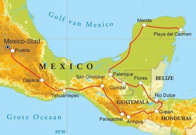 Routekaart Rondreis Mexico, Guatemala & Honduras, 24 dagen