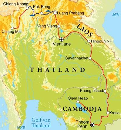 Routekaart Rondreis Laos & Cambodja, 22 dagen